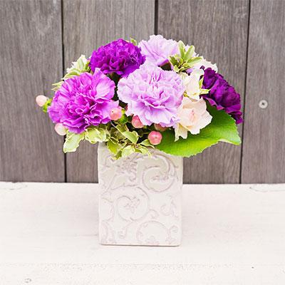 陶器フラワーアレンジメント(紫)